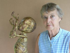 Beth Vannatta with her sculpture